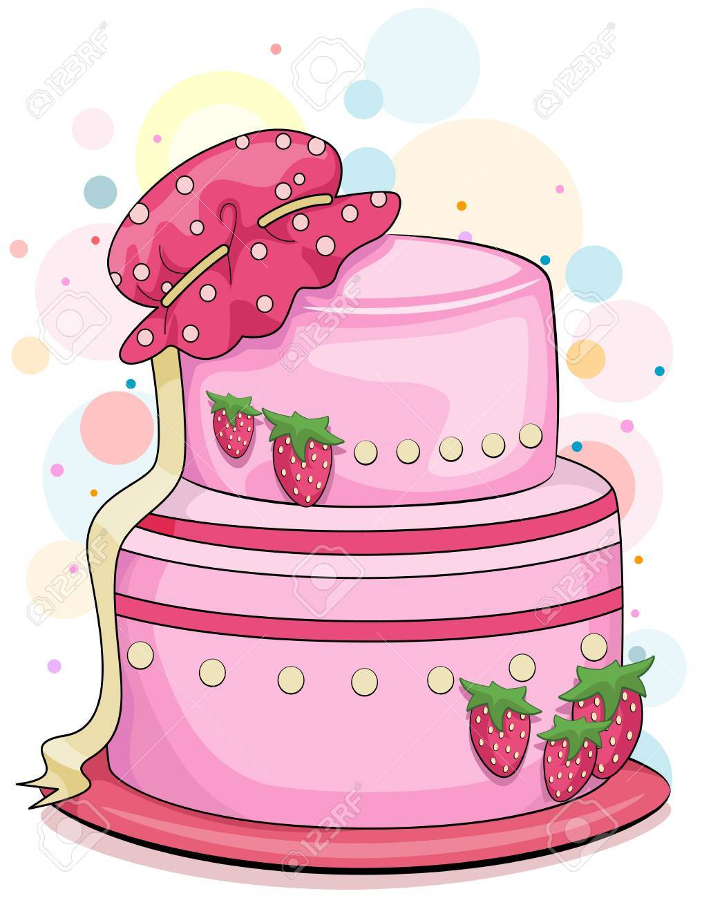 Illustration of a Strawberry Cake with a Baby Bonnet on Top Stock Photo - 8550054