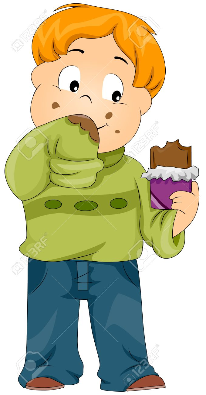 Illustration of a Kid Smearing His Sweater with Chocolate Stock Photo - 8549984