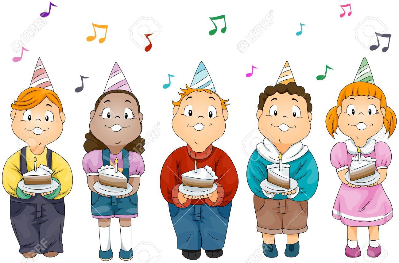 Illustration Of Kids Holding Slices Cake With Birthday Candles
