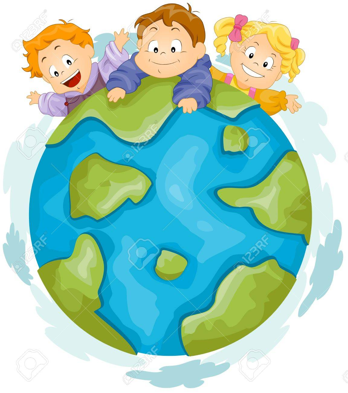 Illustration of Kids Playing on Top of a Huge Globe Stock Photo - 8614169