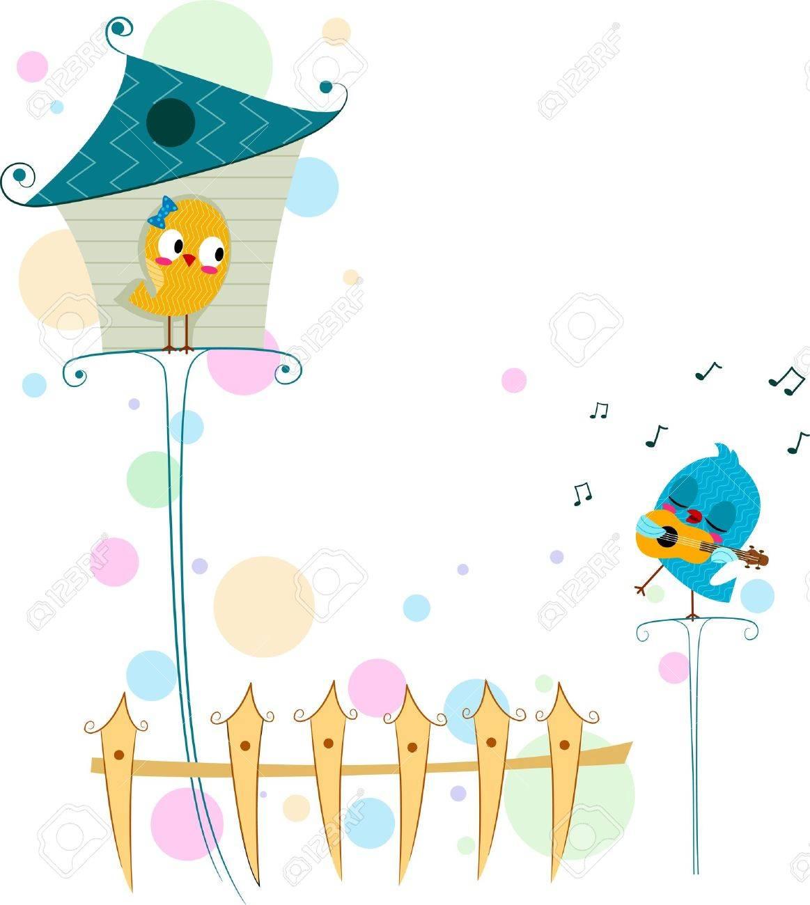 Illustration of a Lovebird Serenading Another Lovebird Stock Illustration - 8635562