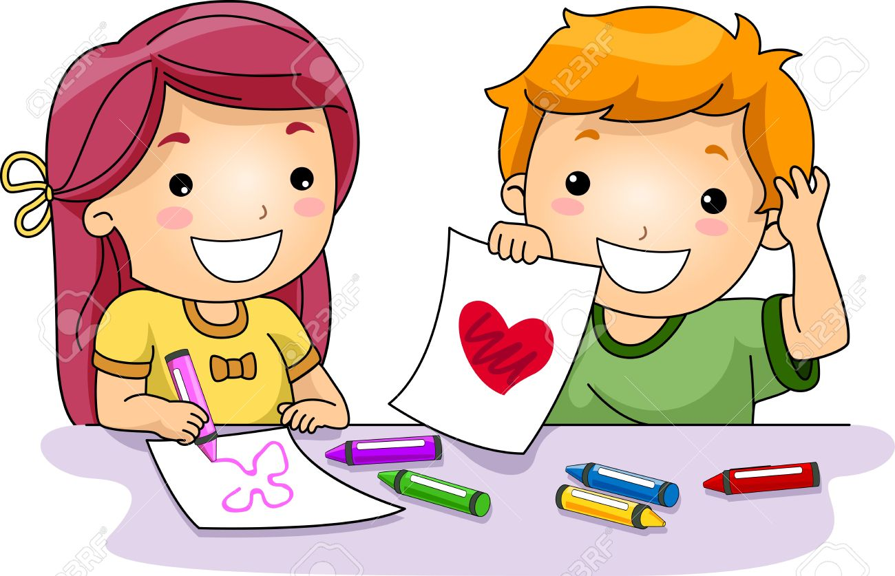 illustration of kids drawing valentine related things stock photo