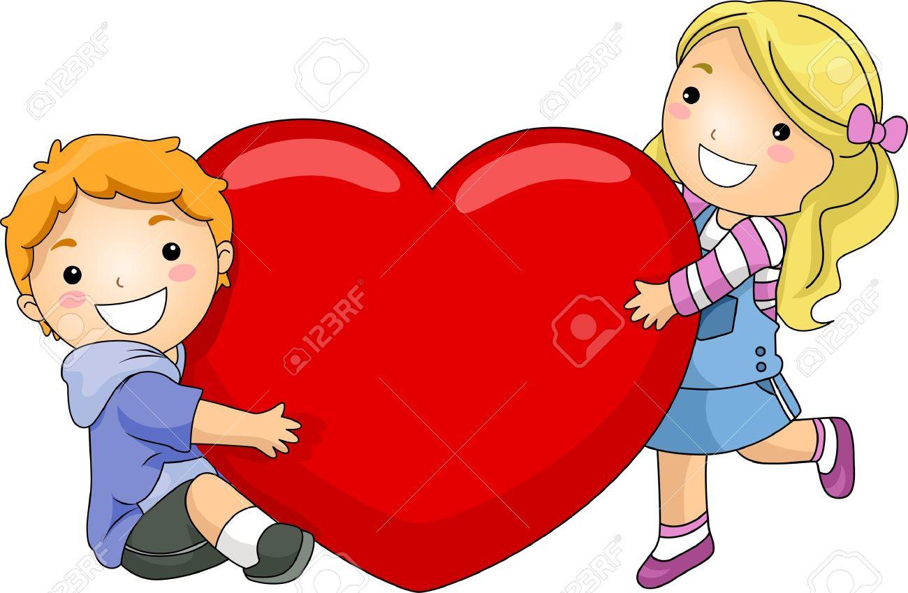 Ilustración De Un Niño Y La Niña Abrazando Un Corazón Gigante Fotos ...