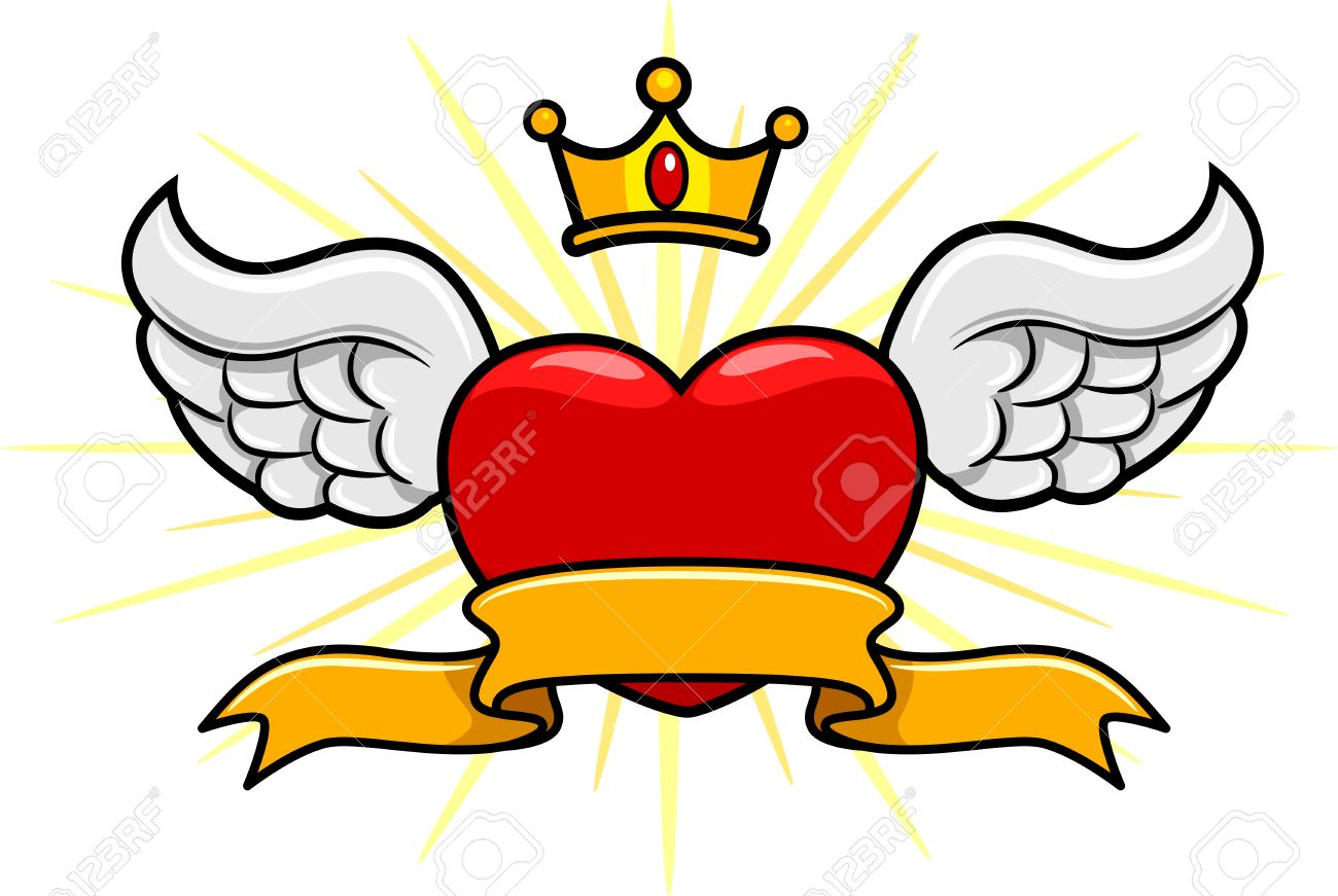 Illustration of a Winged Heart with a Crown Above Stock Illustration - 8704903