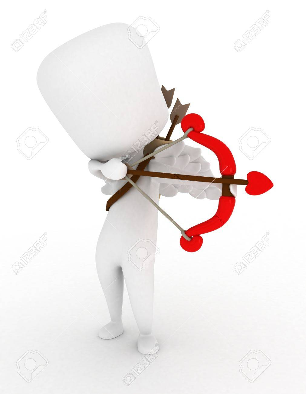 Illustration of a Man Dressed as Cupid Preparing to Release an Arrow Stock Illustration - 8756673