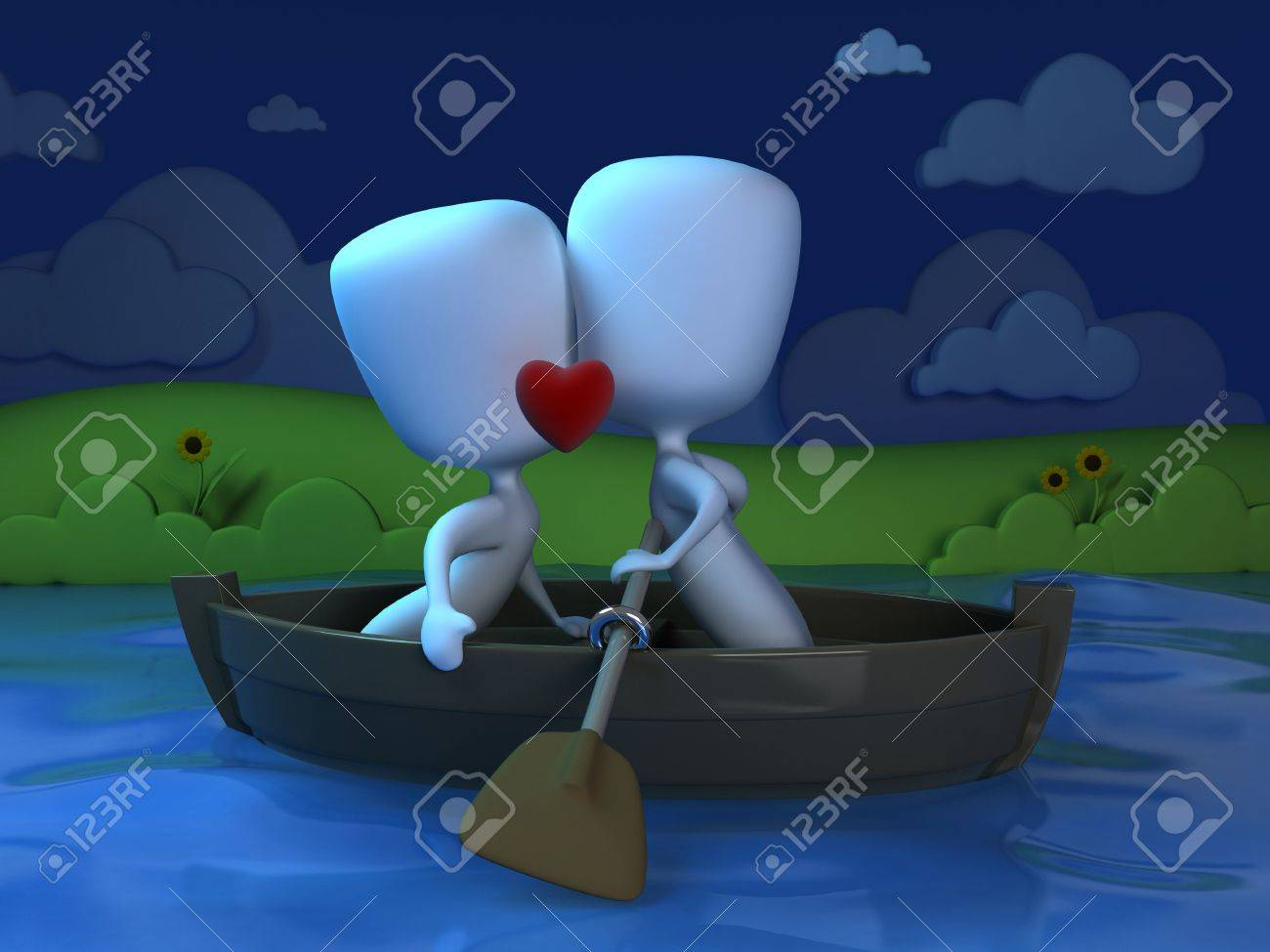 3D Illustration of a Couple Kissing on a Boat Stock Photo - 8756736