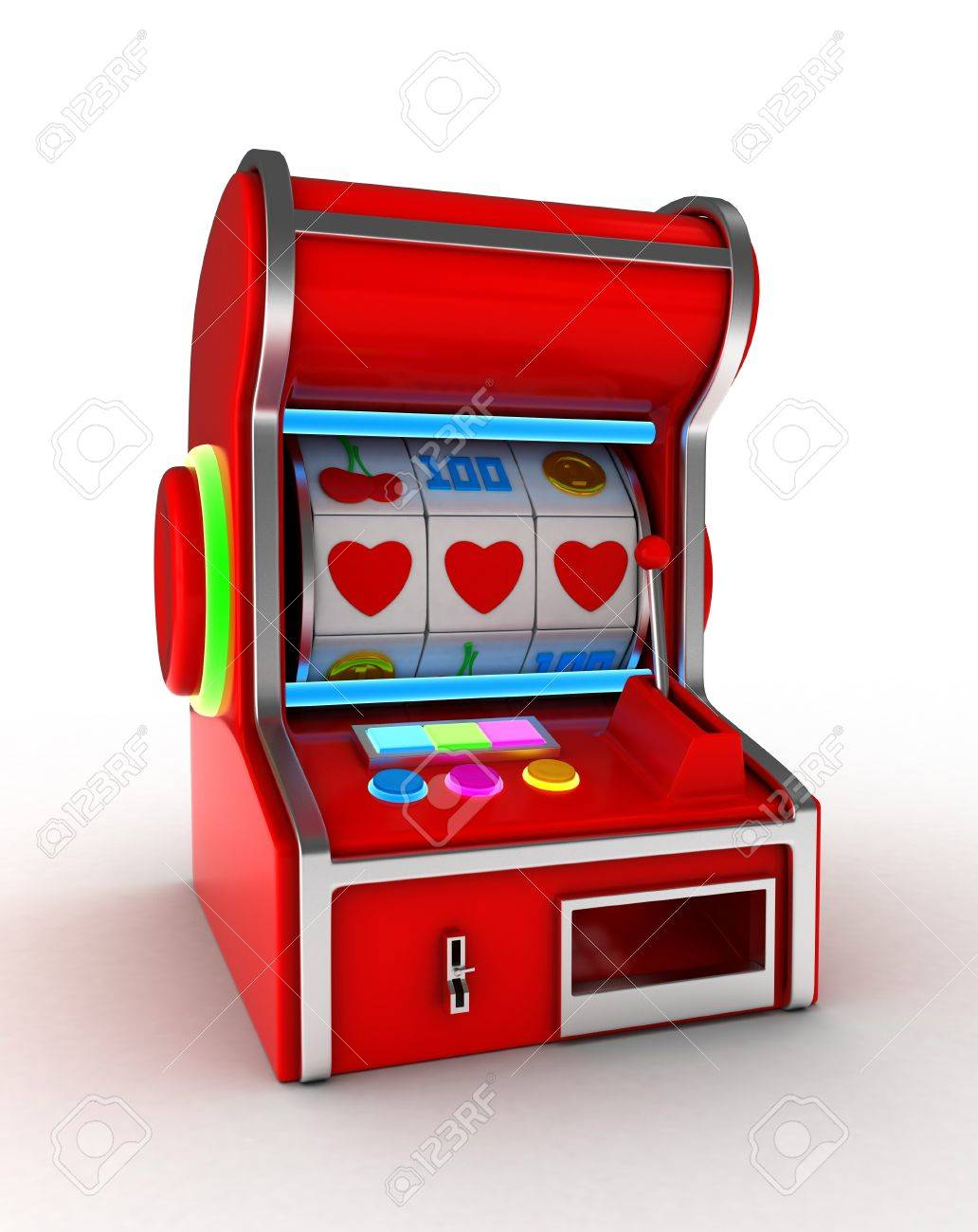 Illustration of a Slot Machine Displaying a Combination of Three Hearts Stock Photo - 8756731