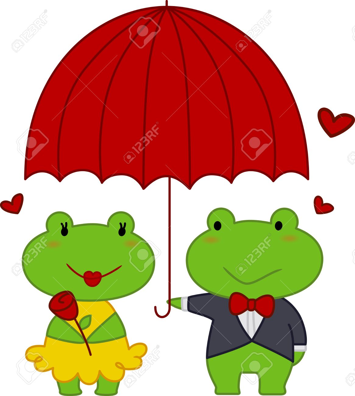 Illustration of a Male Frog Holding an Umbrella For the Female Frog Stock Illustration - 8756783