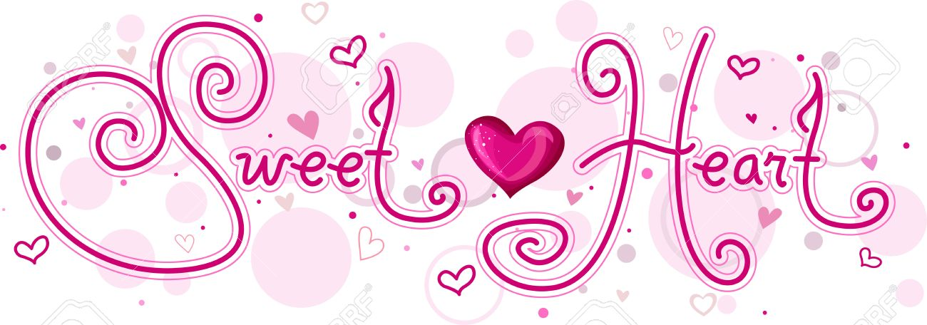 Cute Lettering Featuring The Word Sweetheart Stock Photo