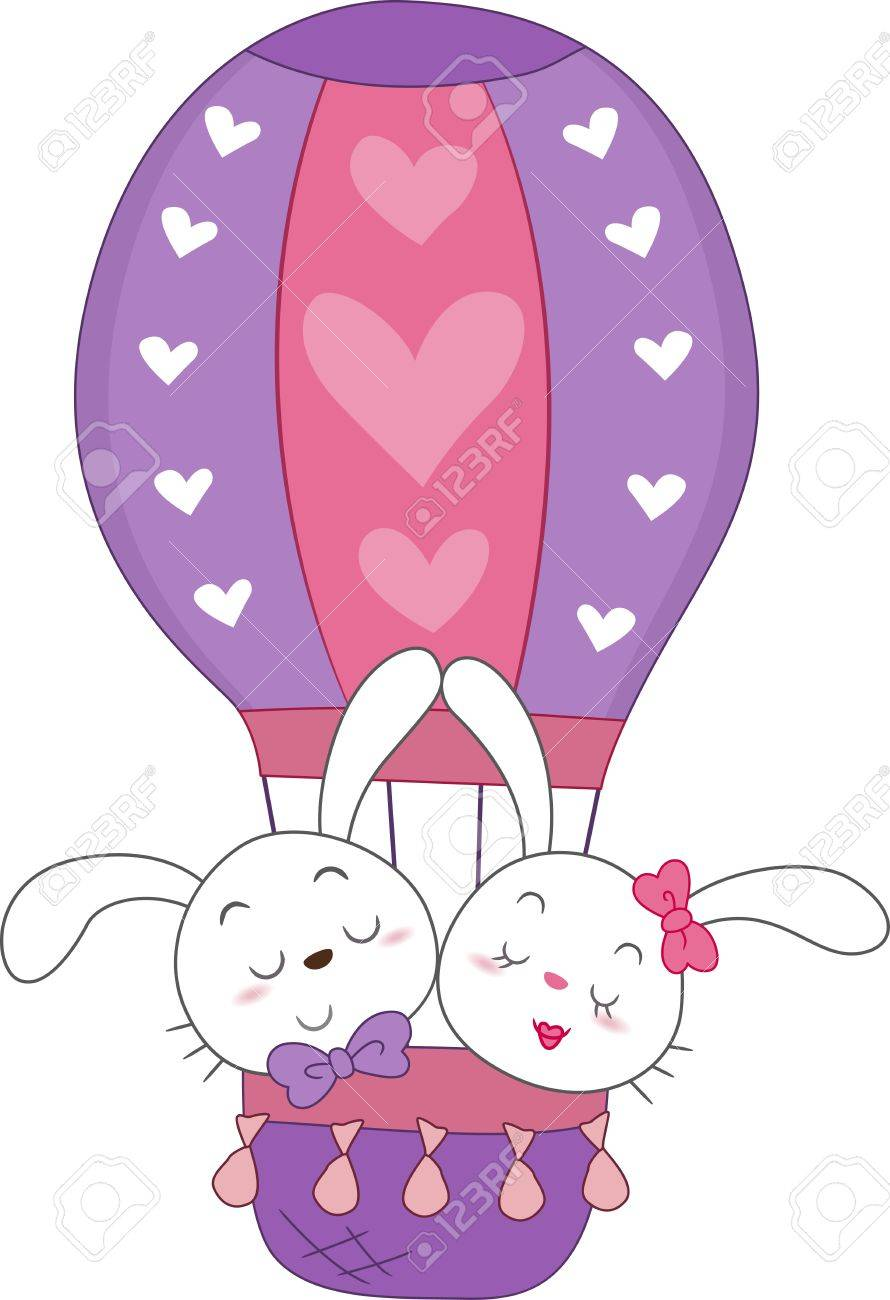 Illustration of a Pair of Bunnies in a Hot Air Balloon Stock Photo - 8756768