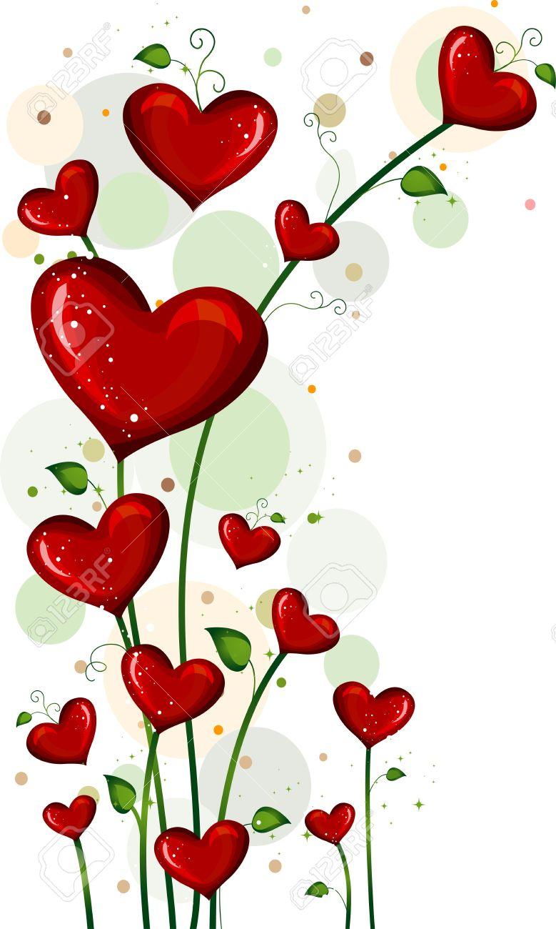 Ilustración De Plantas Con Flores En Forma De Corazón Fotos