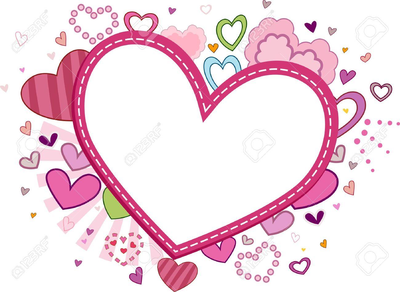 Marco Con Temática San Valentín Con Un Corazón Cosido Fotos ...