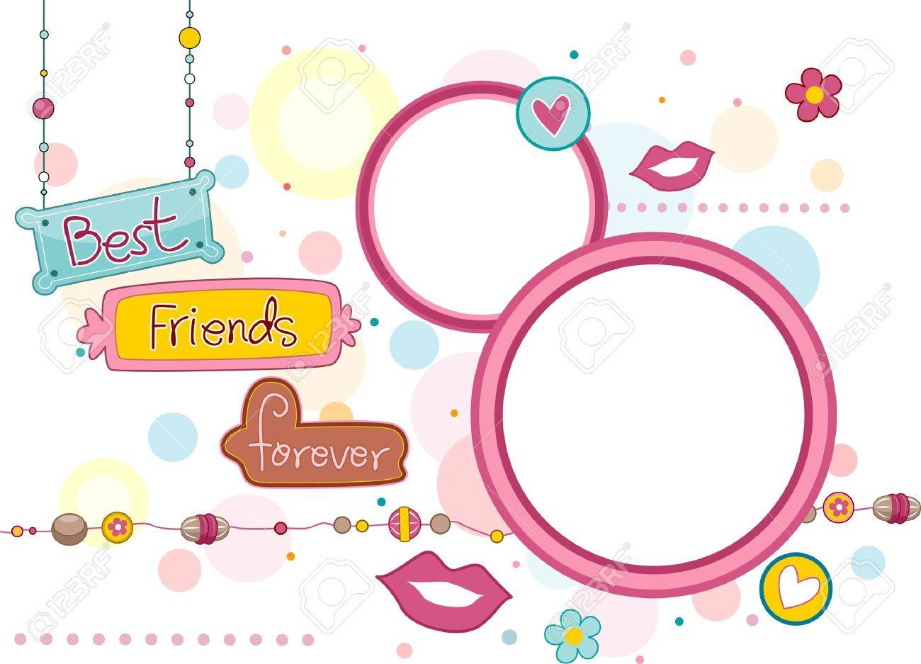 illustration illustration of frames and signboards featuring the words best friends forever