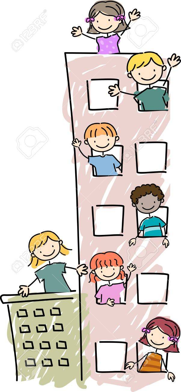 Illustration of Kids Peeking Out of their Apartment Units' Windows Stock Illustration - 8906255