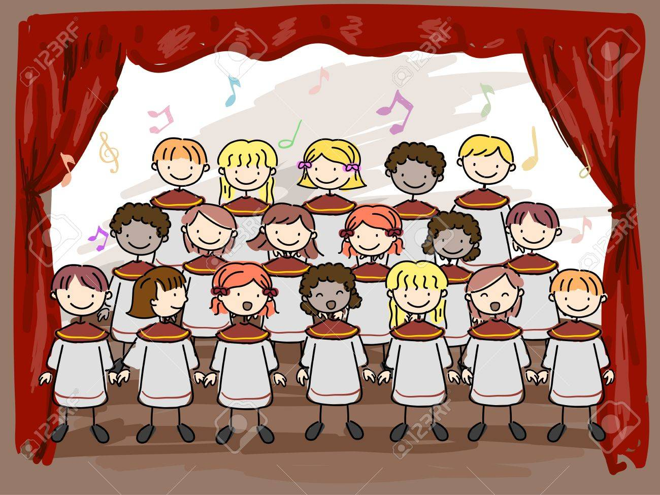 Illustration of a Children's Choir Performing on Stage Stock Illustration - 8906520