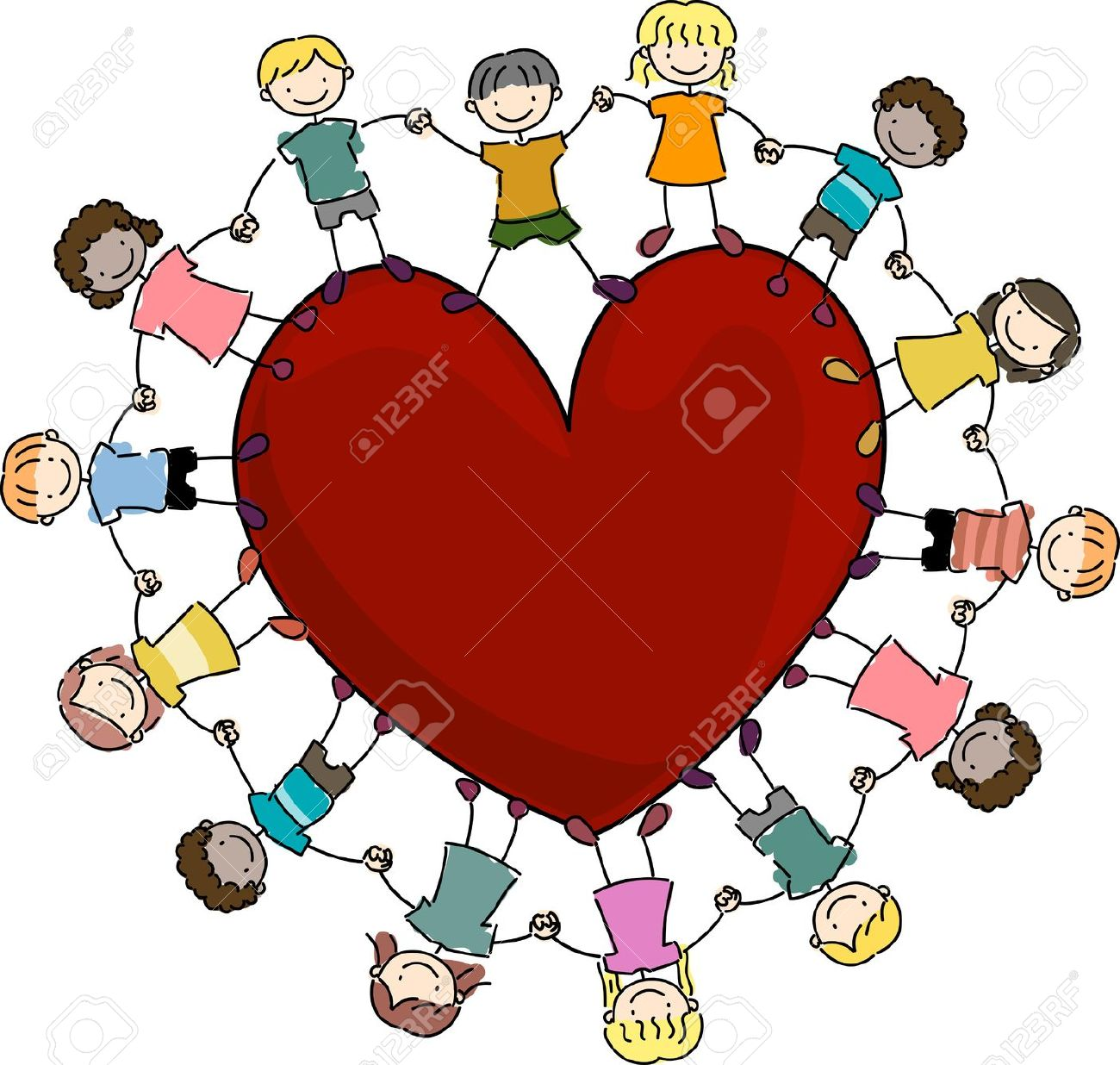 Illustration Of Kids Surrounding A Large Heart Stock Photo ...