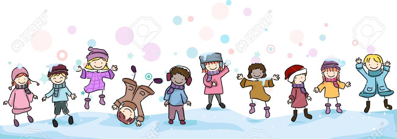 Ilustracion De Ninos Jugando En La Nieve Fotos Retratos Imagenes Y