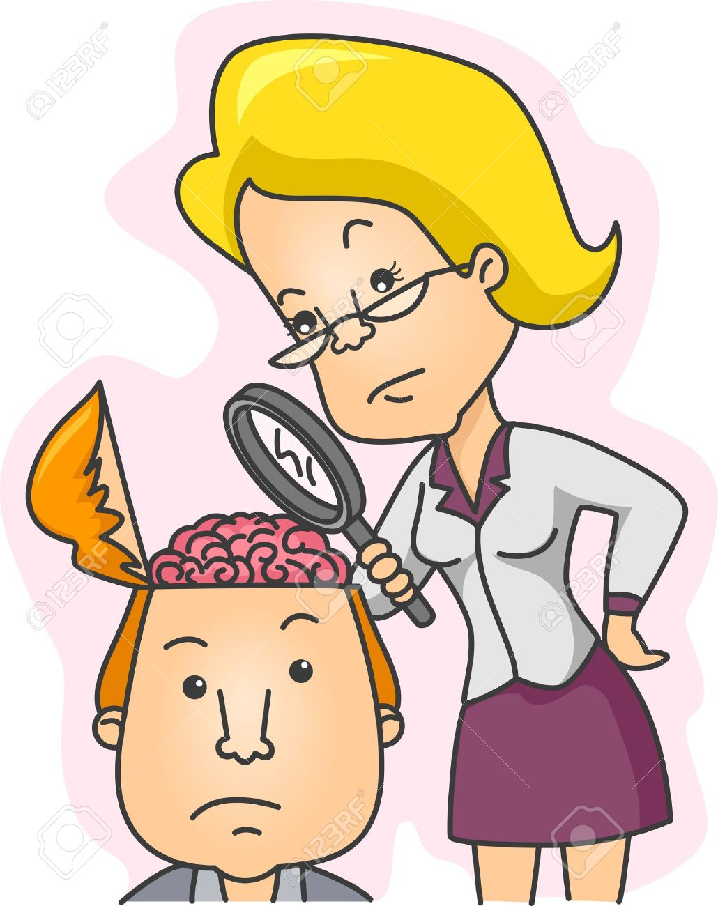 Illustration of a Woman Examining the Contents of a Man's Head Stock Illustration - 8906455