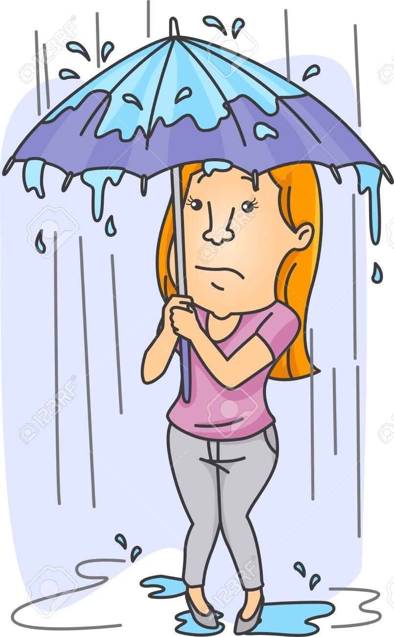 大雨から彼女自身をシールド女性のイラスト の写真素材画像素材 Image