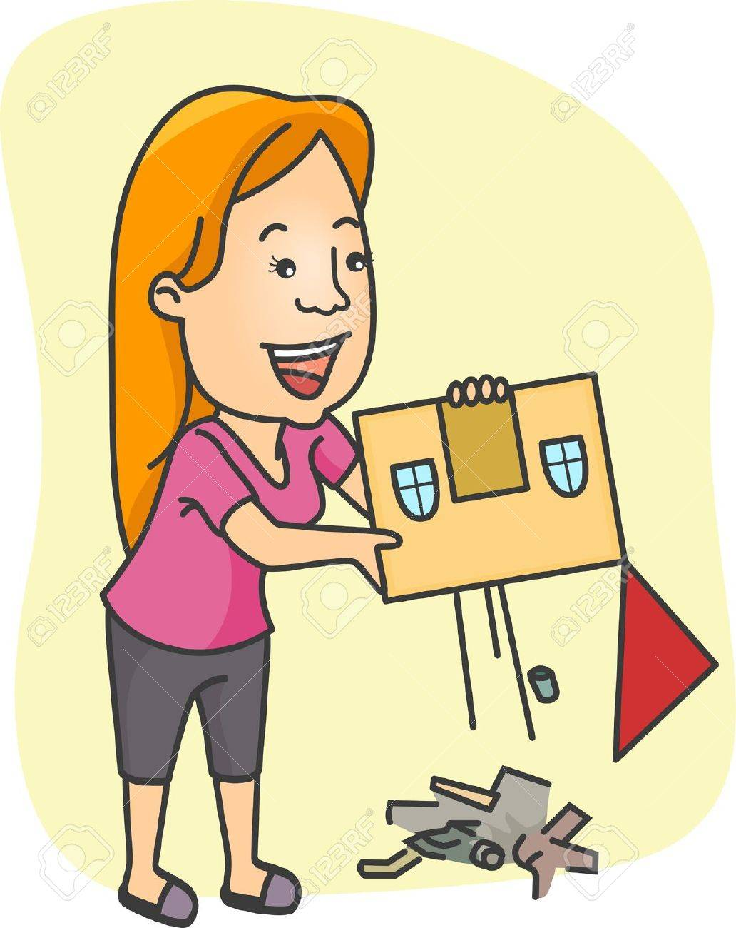Illustration of a Girl Doing Some Cleaning Stock Illustration - 8906171
