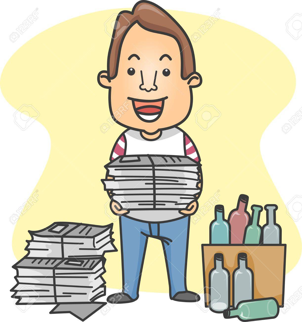 illustration of a man organizing things for recycling stock photo