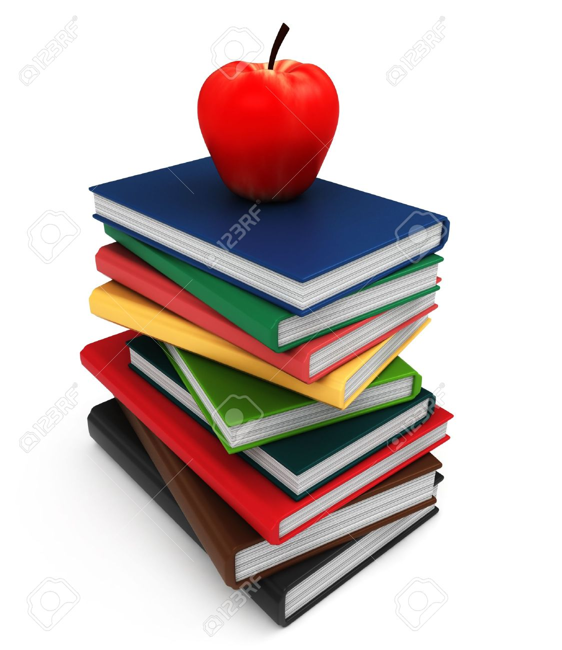 3d illustration of a pile of books with an apple on top stock photo