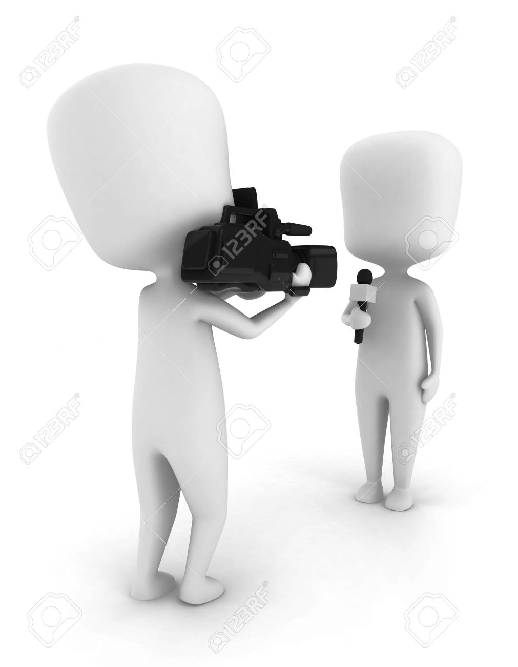 3D Illustration of a Man Doing a Live Report Stock Illustration - 8993559