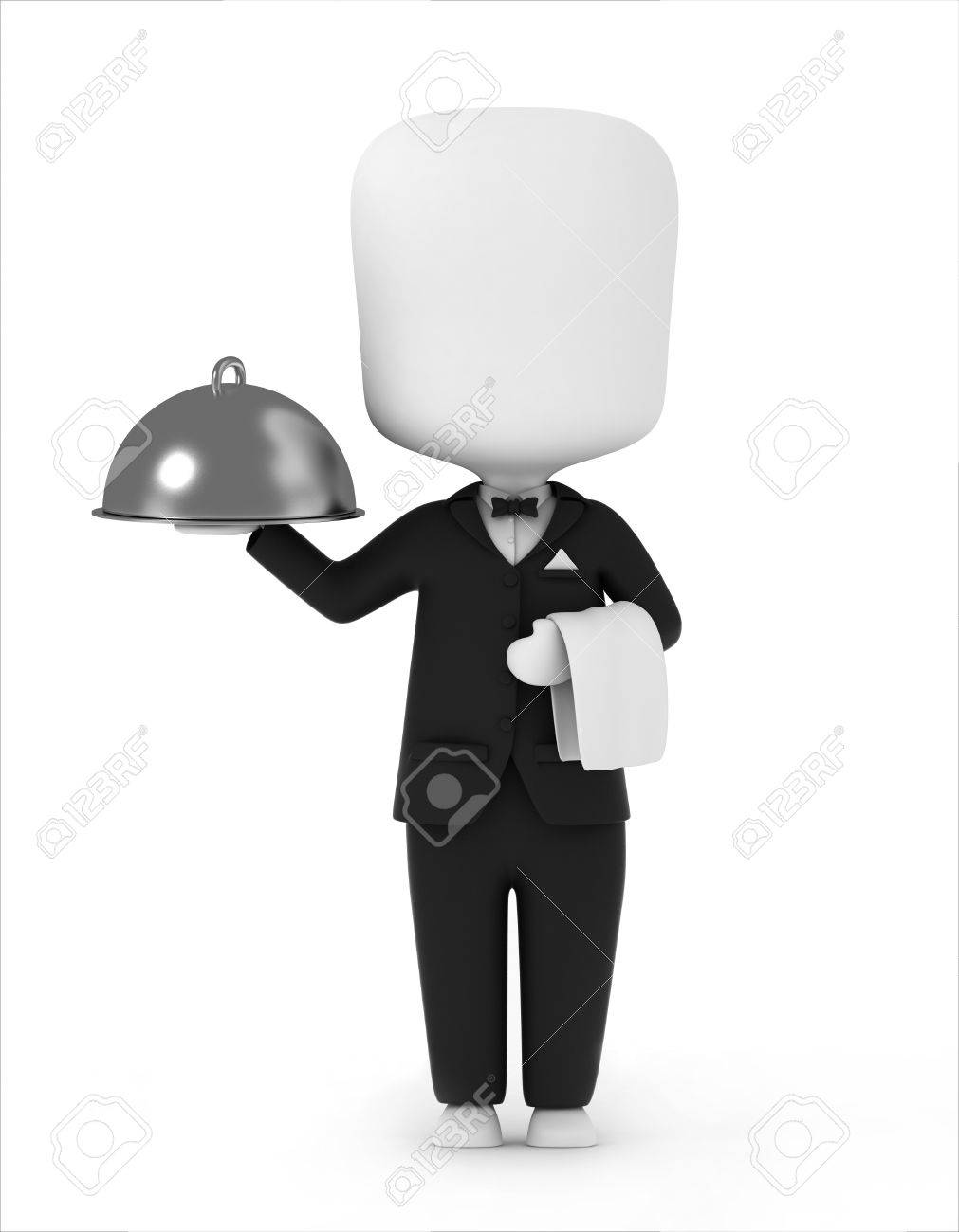 3D Illustration of a Waiter Carrying a Serving Tray and a Towel Stock Illustration - 8993539