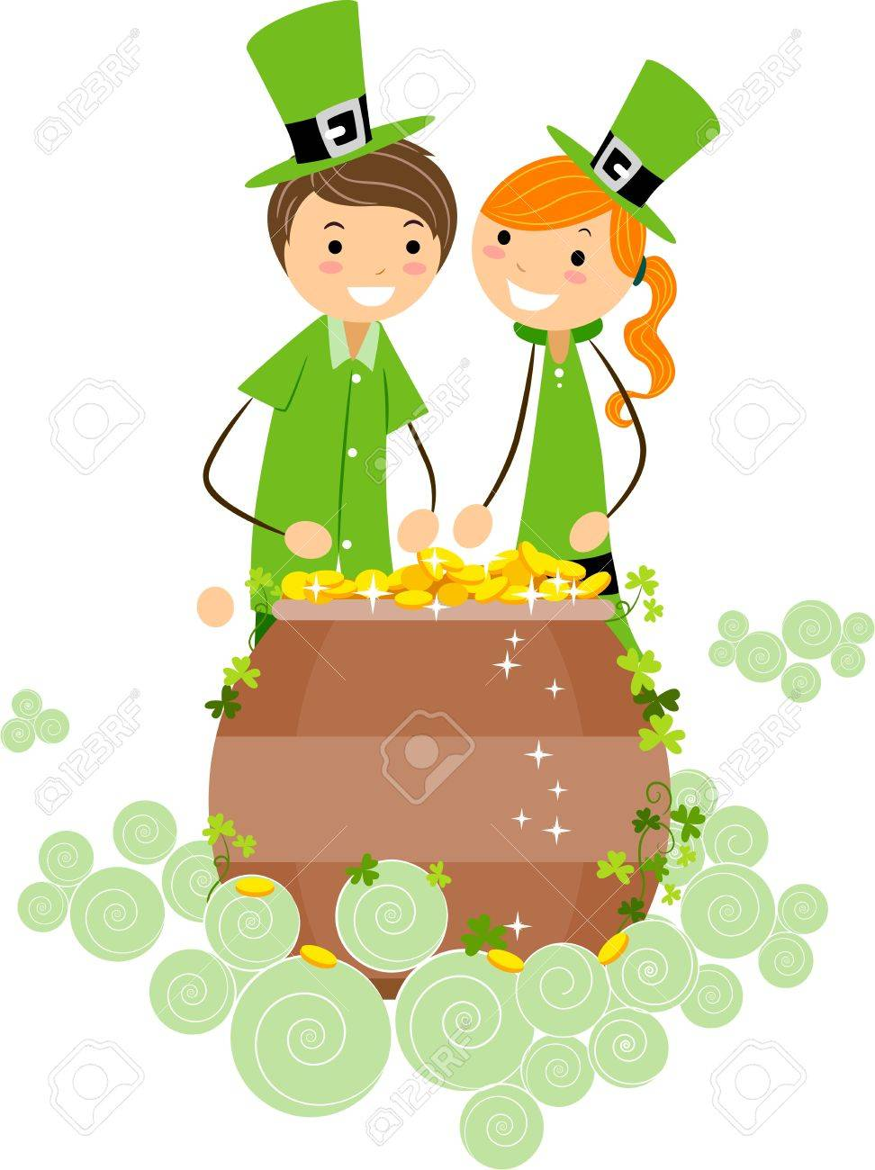 Illustration of a Boy and Girl Checking Out a Pot of Gold Stock Photo - 8993610