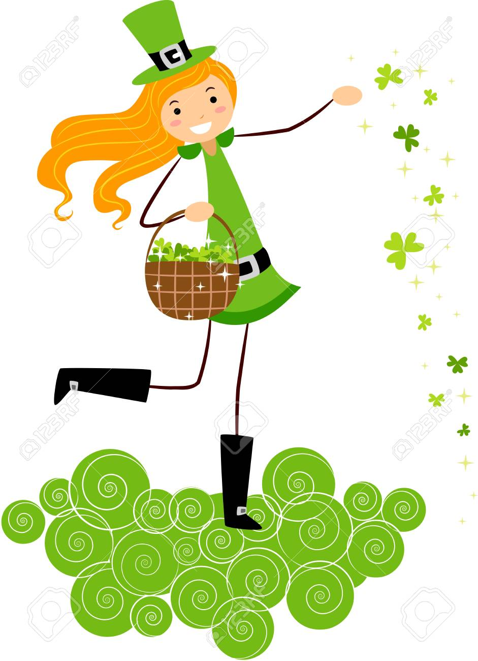 Illustration of a Girl Scattering Clovers Stock Photo - 8993617