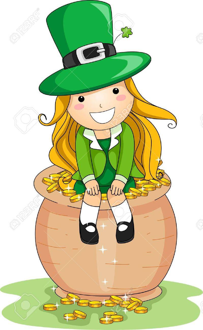 illustration of a girl sitting on a pot of gold stock photo picture rh 123rf com