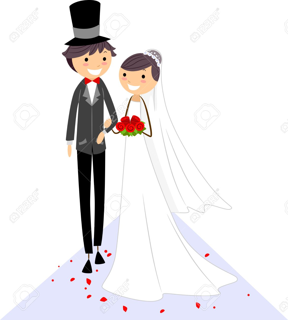 Illustration of a Bride and Groom Walking on the Aisle Stock Illustration - 9151177