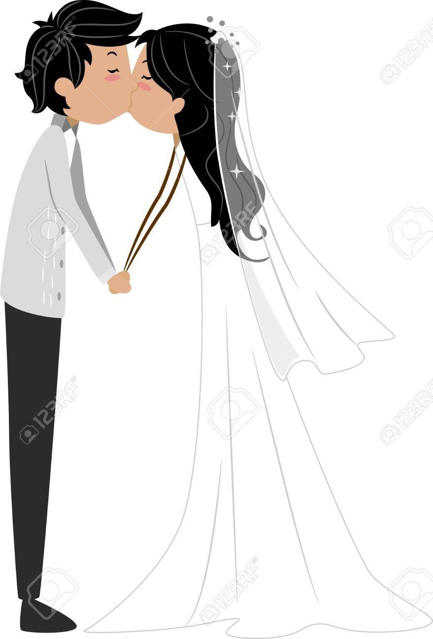 新婚者のカップルはキスを共有のイラスト ロイヤリティーフリーフォト