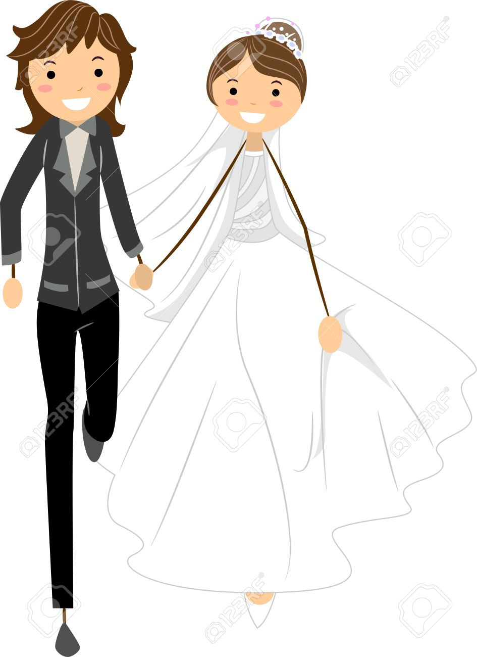 illustration of a lesbian couple on the run stock photo, picture and