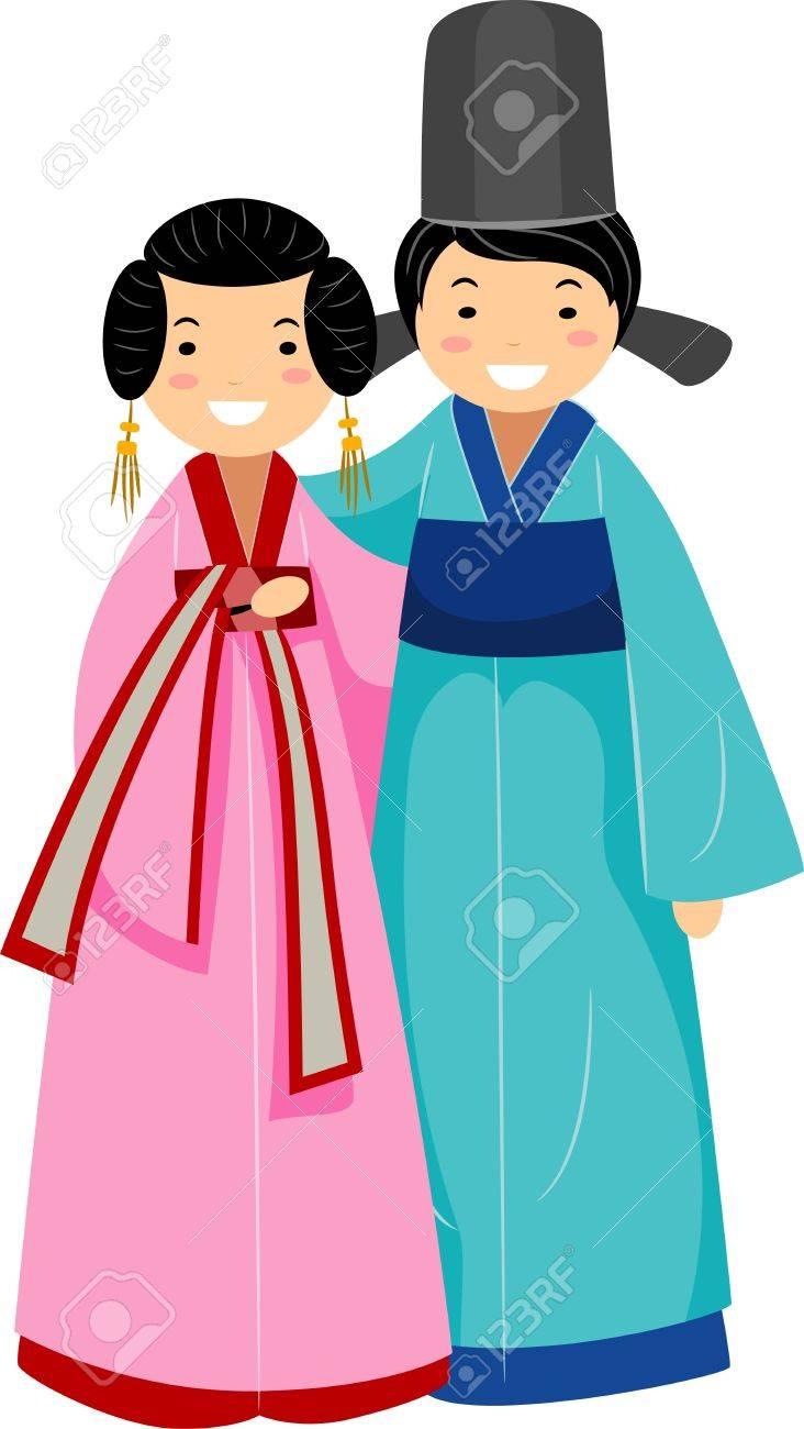 韓国新婚のカップルのイラスト ロイヤリティーフリーフォト