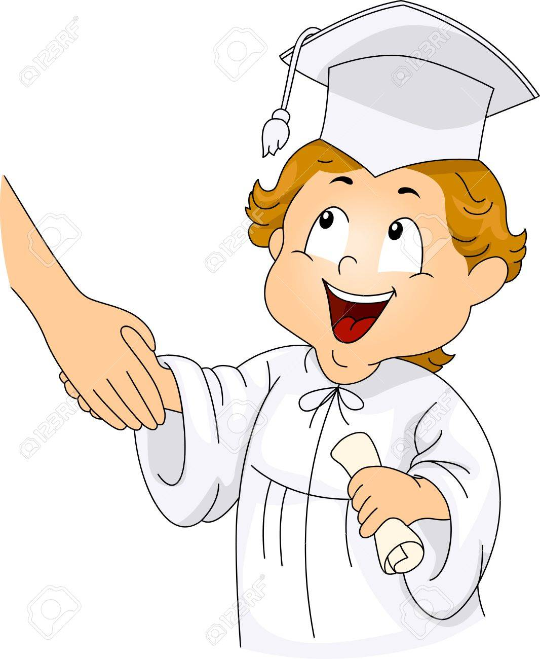 Illustration of a Little Graduate Shaking Hands with his Teacher Stock Illustration - 9256821