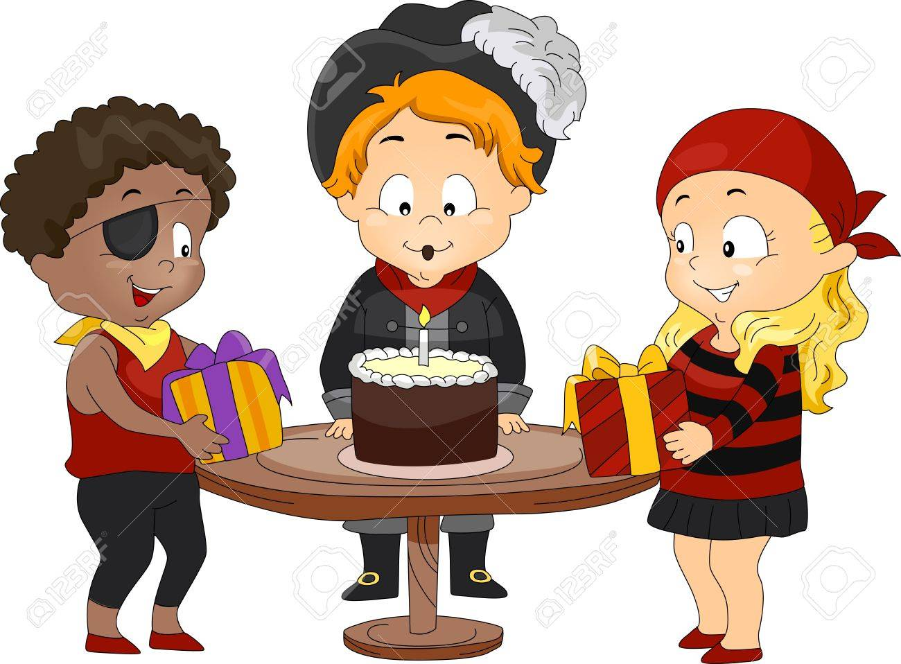 Illustration of Kids in a Birthday Party Dressed as Pirates Stock Illustration - 9307271