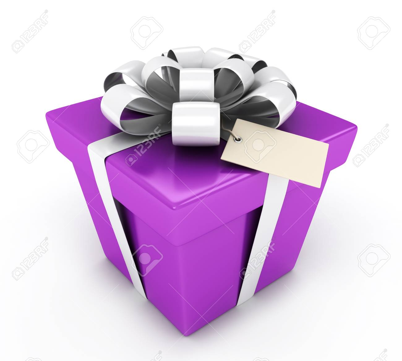 3D Illustration of a Gift with a Blank Card Attached Stock Photo - 9307251