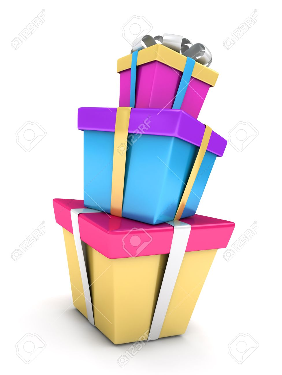 3D Illustration of a Stack of Gifts Stock Photo - 9307205