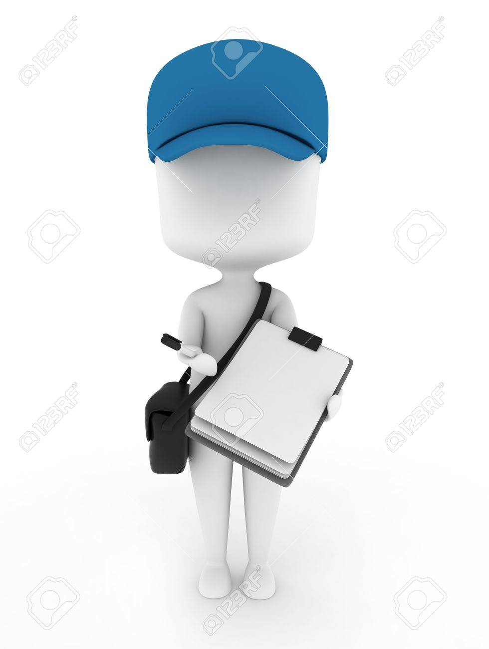 3D Illustration of a Delivery Guy presenting Paper for Signing Stock Illustration - 9307108