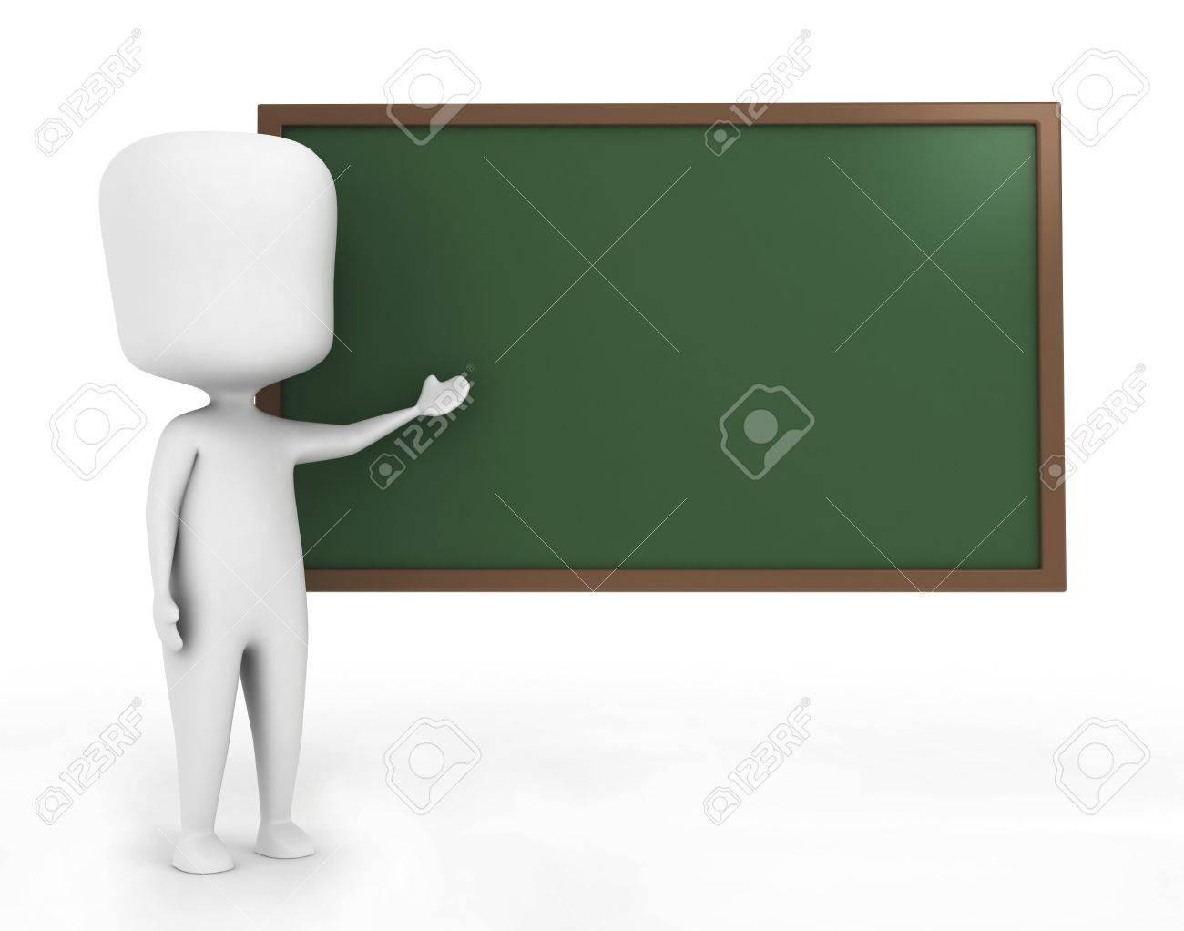 3D Illustration of a Teacher in front of a Blackboard Stock Illustration - 9307216