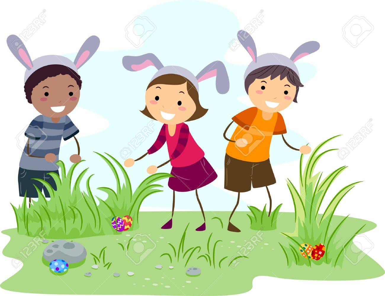 Illustration Of Kids On An Easter Egg Hunt Stock Photo, Picture And ... for Easter Egg Hunt Clipart  51ane