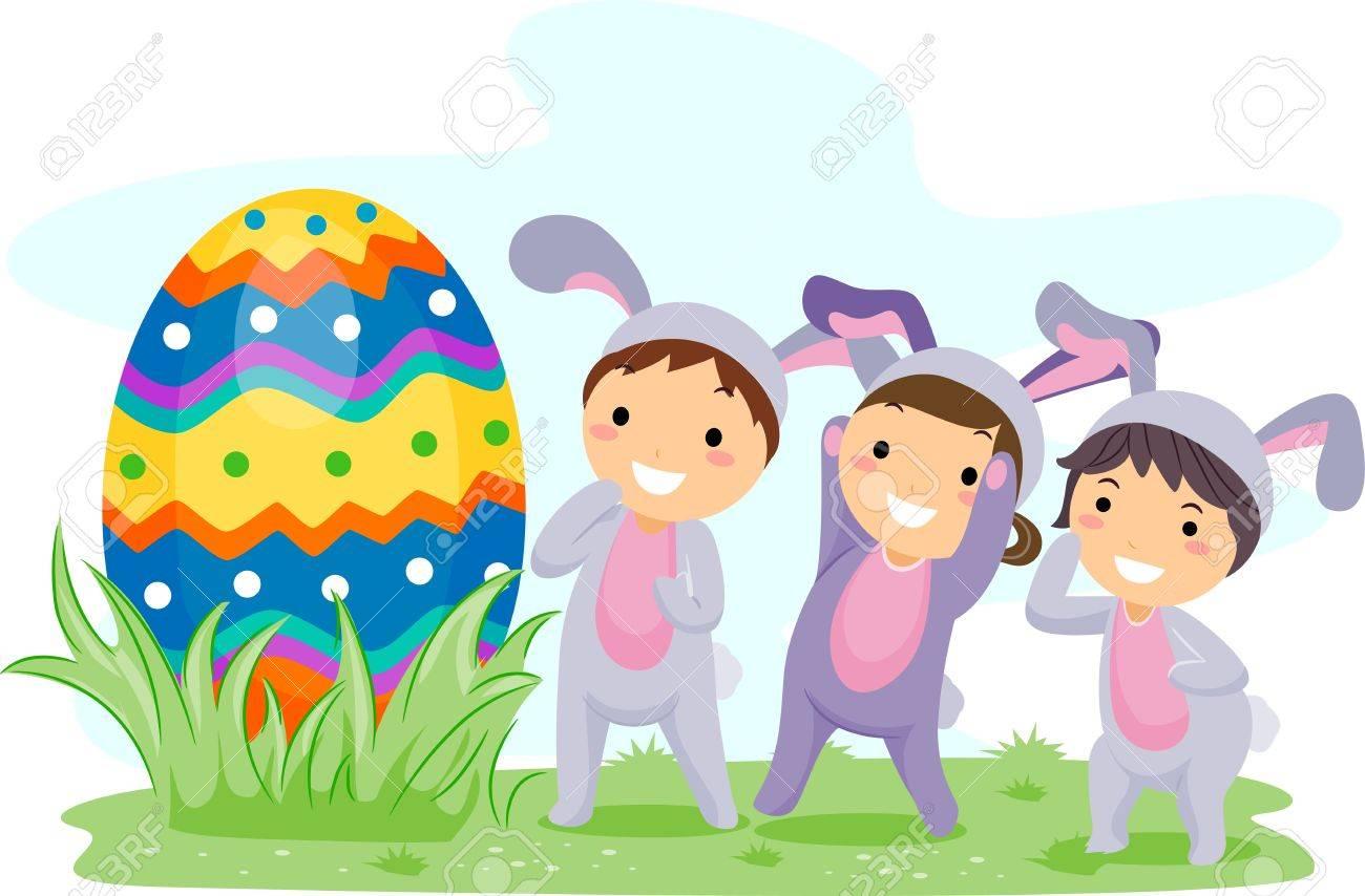 Illustration Of Kids On An Easter Egg Hunt Stock Photo, Picture ... for Easter Egg Hunt Clipart  568zmd