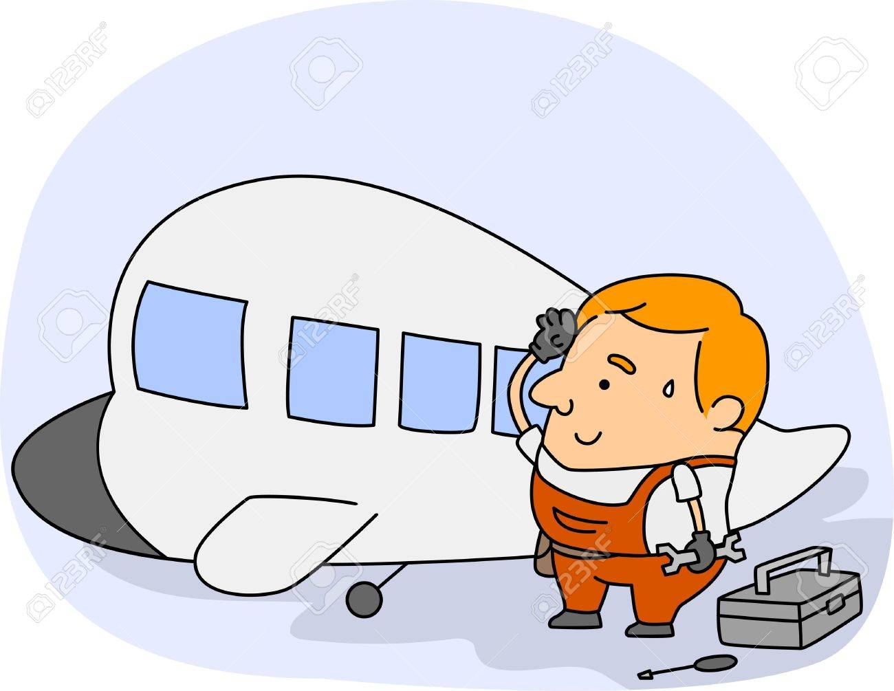 Illustration Of An Aircraft Mechanic At Work Stock Photo, Picture ...
