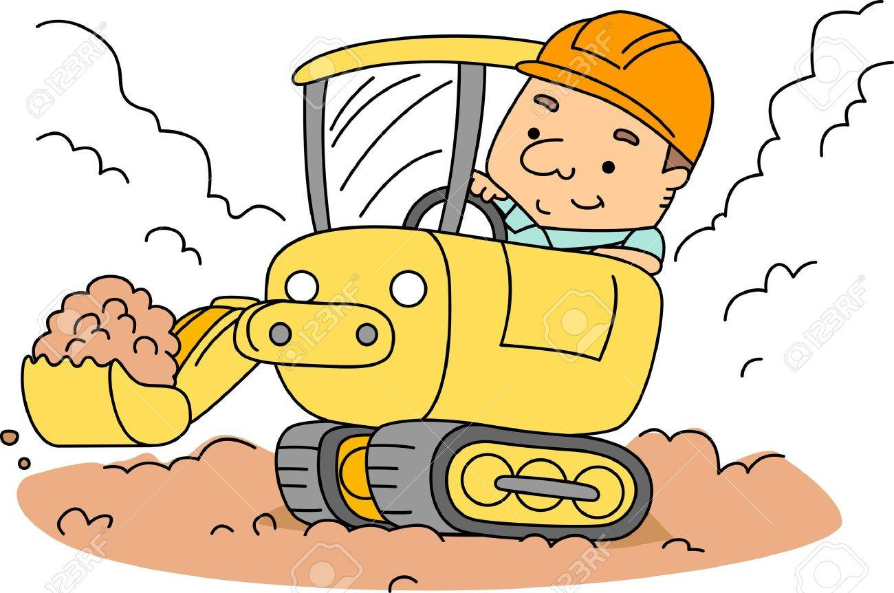 illustration of a construction worker operating a backhoe stock