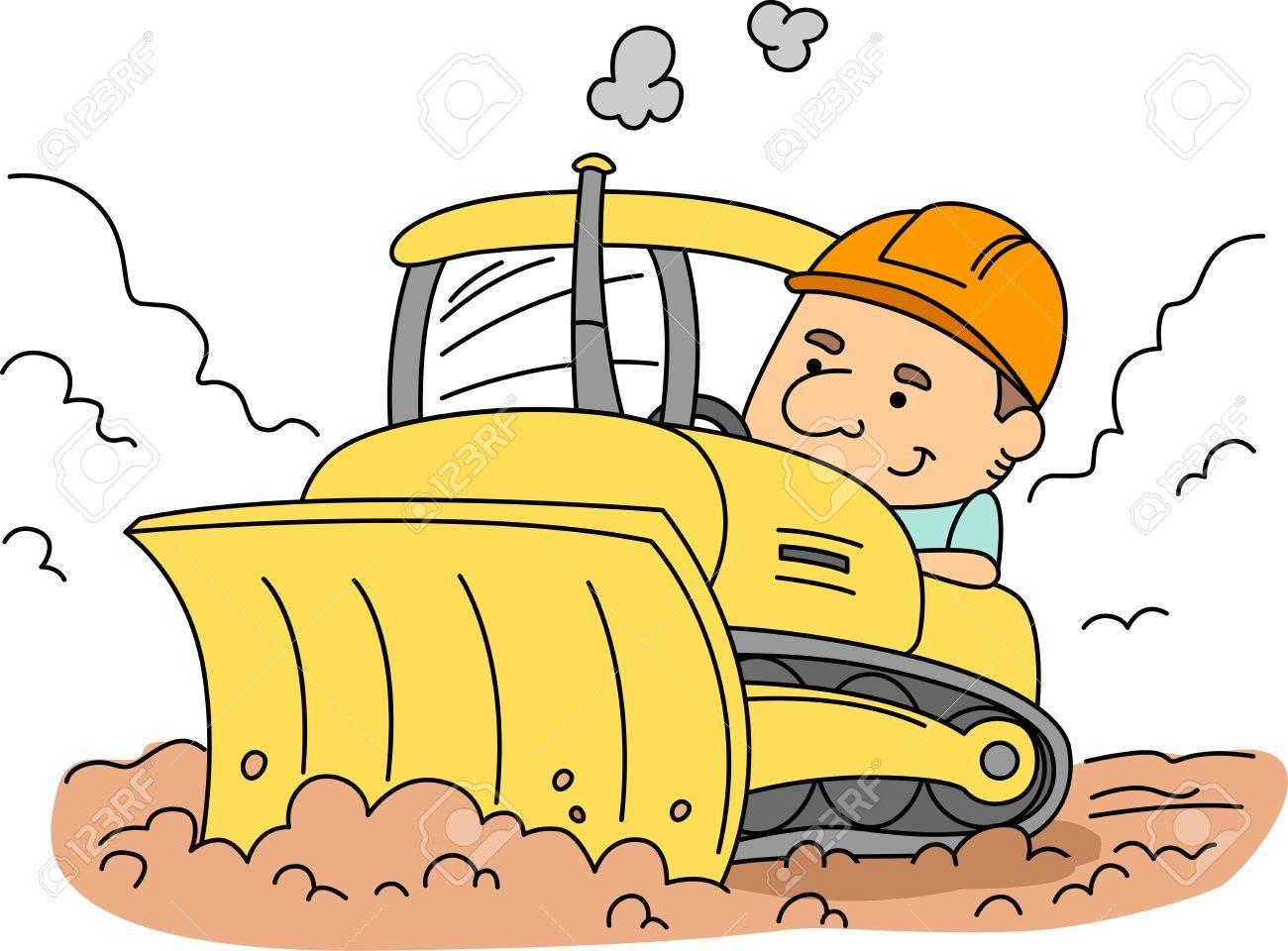 Illustration of a Man Operating a Bulldozer Stock Illustration - 9456872