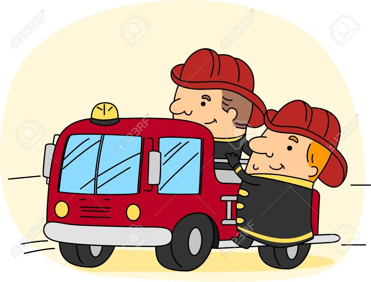 Illustration of a Fireman at Work Stock Illustration - 9456847