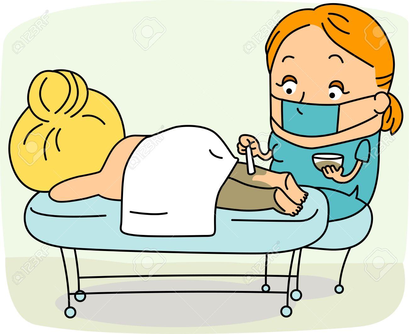 Illustration of a Spa Attendant / Esthetician at Work Stock Illustration - 9456866