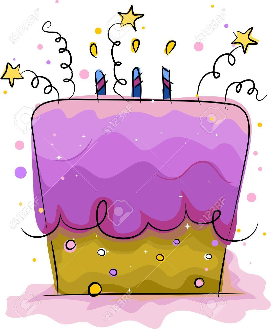Illustration of a Birthday Cake Decorated with Stars Stock Illustration - 9456844