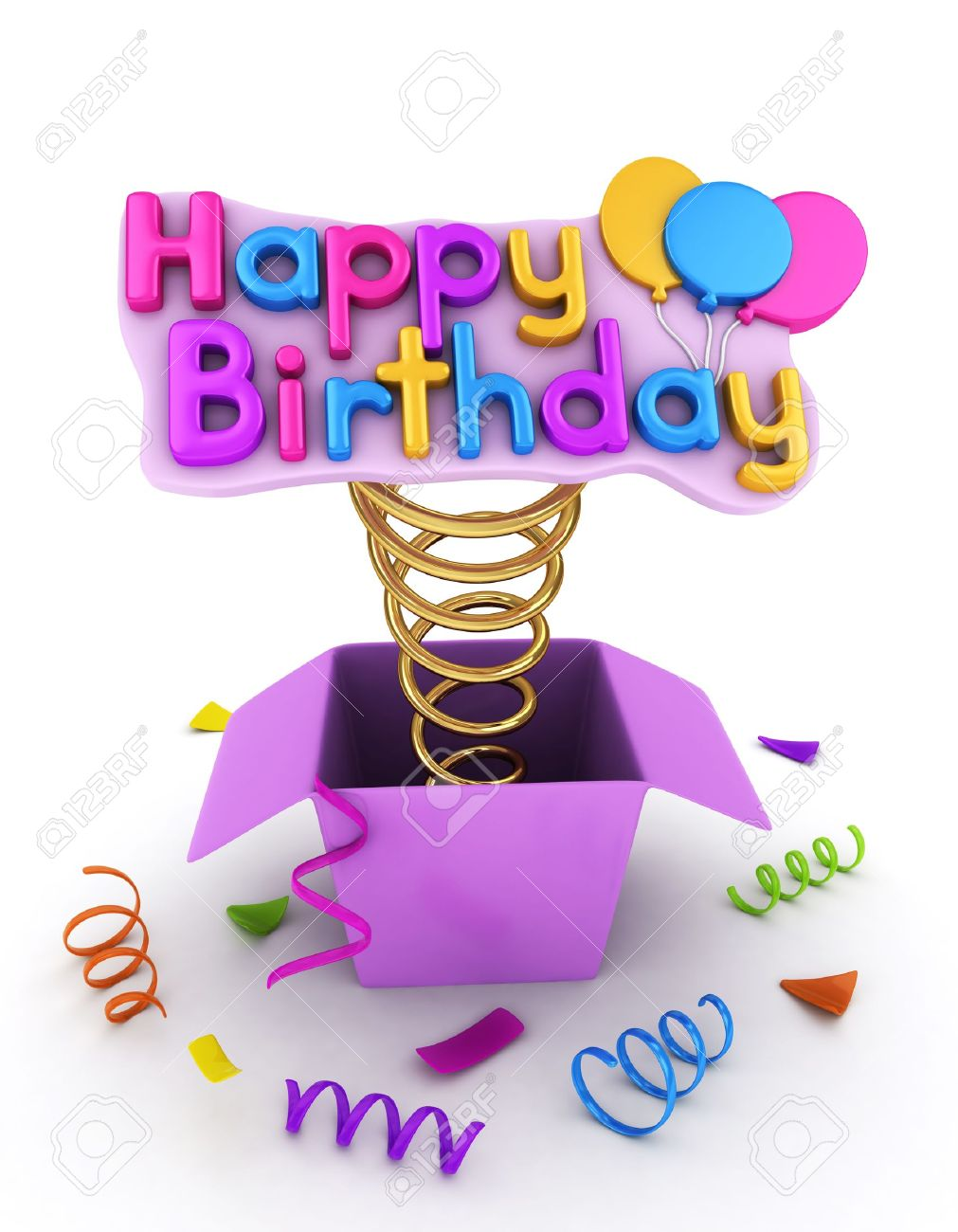 3d Illustration Of A Gift Box With A Pop Up Happy Birthday Message